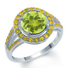 2.61 Ct 8mm Round Yellow Lemon Quartz & Yellow Sapphire 925 Sterling Silver Ring