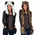 Gorgeous Ladies Warm Animal Hat With Attached Scarf - Husky, Leopard, Panda NEW