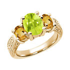 2.45 Ct Yellow Lemon Quartz Citrine 925 Yellow Gold Plated Silver 3-Stone Ring