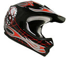 TMS Youth Black/Red Skull Flame Street Motocross Helmet ATV~ Small/Medium/Large
