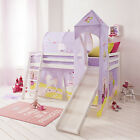 Cabin Bed Mid Sleeper Pine Kids Bed with Slide Princess Fairytale Tent  6670