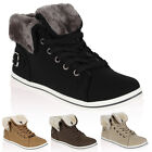Ladies Faux Leather Womens Fur Trim Hi Top Trainers Winter Shoes Pumps Size 3-8
