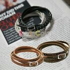 Fashion Leather Rock Rivet Clinch Bolt Winding Bangle Bracelet Wristband X-mas