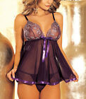 Sexy Purple Black Lingerie Babydoll Chemise Dress Plus Size 8 10 12 14 16 18 20