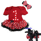 Baby Number 1 Red Minnie Mouse Pettiskirt Bodysuit Tutu Romper Headband Shoes