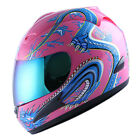 NEW Motorcycle Street Bike Adult Full Face Helmet Blue Dragon Pink Size S M L XL