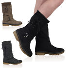 Womens New PU Ladies Winter Snow Lace Up Buckle Long Calf Boots Shoes Size 3-8