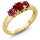 1.08 Ct Round Red Created Ruby Pink Tourmaline 18K Yellow Gold 3-Stone Ring