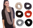 Knitting Infinity Scarf Hood Winter Warm Woman Scarf Sequins Endless Scarf