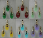 6 Colors Jade 18K GP Pendant Necklace Earring Set + free chain