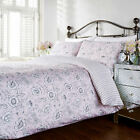 Humming Bird Ella Floral Roses Pink Grey Stripe Striped Cotton Duvet Quilt Cover