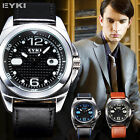 EYKI Overfly Date 3 Colors Japan Movement Leather Band Mens Quartz Wrist Watch