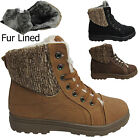WOMENS ANKLE BOOTS GIRLS LADIES HI HIGH TOP TRAINERS FUR WINTER LINED FLAT SHOES