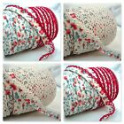 25M ROLL VINTAGE CREAM / RED FLORAL PICOT LACE CROCHET EDGE BIAS BINDING FABRIC