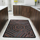 Small Large Terracotta Modern Rug Non Slip Rubber Back Flatweave Lounge Mats UK