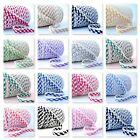 BY THE 25m ROLL  - GINGHAM PICOT LACE CROCHET EDGE BIAS BINDING check ribbon
