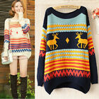2013 Fashion New Women loose Fawn Stripe pullover sweater Tops for Christmas