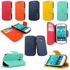 Samsung Galaxy S3 SIII I8190 Mini Slim Fit Pu Leather Wallet Card Flip Open Case