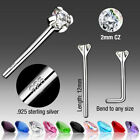 10 Sterling Silver CZ Colors Bendable Fishtail Nose Rings Wholesale Body Jewelry