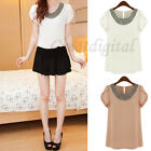 Womens Short Sleeve Shirt Retro Round Neck Chiffon Beaded Collar Tops Blouse Hot