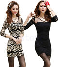 Hot Women Sexy Slim Lace Long Sleeve Party Clubwear Cocktail Bodycon Mini Dress