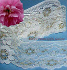 "8 Yd Gold Ivory Lace Trim 3"" Large Floral Scalloped D46V Buy More-Ship No Charge"