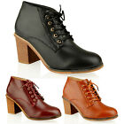 WOMENS LADIES MID BLOCK HEEL LACE UP ANKLE BOOTIES BOOTS FASHION LOW SHOES SIZE