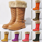 WOMENS QUILTED LADIES BUCKLE WINTER WARM GRIP SOLE ZIP BOOTS SHOES SIZE US4-11