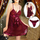 Dark Red Lingerie Babydoll Dress Chemise Nighty Plus Size 6 8 10 12 14 16 18 20
