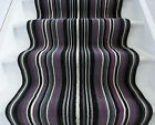 Long Purple Black Stripe Hallway Rug Any Length Carpet For Stairs Sold Per Metre