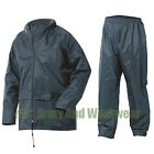 NEW WATERPROOF RAIN SUIT JACKET & TROUSER SET RAINSUIT WORK PVC MENS LADIES NEW