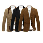 New Men Casual Dress Formal Blazer Suit Two Button Slim Fit Cotton Jackets Coats