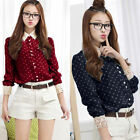 Womens Polka Dot Print Shirt Lace Crochet Collar Long Sleeve Chiffon Blouse Top