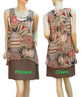Summer Tunic Day Dress Long Top Beige Brown Rust Navy Print Size 10 12 14 16 New