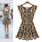 Sexy Women Crew Neck Leopard Print Party Tunic Skater Swing Mini Dress Sundress