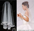 "55"" long ivory or white bridal veils with pearls for wedding party flower girls"