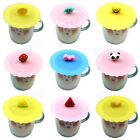 Anti-dust Cute Silicone Glass Cup Cover Coffee Mug Suction Seal Lid Cap Cartoon