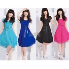New Women Vintage Lady Summer Retro Sweet Chiffon Knee-Length Dress Skirt BF00