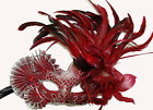 Venetian Elaborate Mask YOUR COLOR CHOICE Fan & Feathers Mardi Gras Halloween