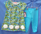 FLAPDOODLES Stretch Etched Print Turquoise 2 pc Dress Set GIRL SIZES NWT