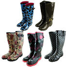 Womens Wellington Boots Printed Rain Snow Winter Wellies Ladies 3 4 5 6 7 8