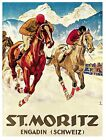 1058. St Moritz Schweiz Engadin Art Decor POSTER.Horse Race.Home office decor