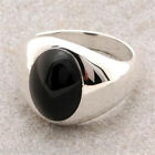 Mans Onyx Ring Made in USA Solid Sterling Finest Quality Retro Style # MS 2