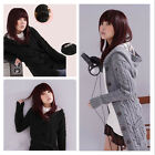 Warm Womens Girls Hooded Cardigan Long Sweater Cable Knitted Coat Knitwear Tops