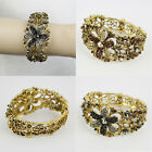 RHINESTONE FLOWER CUTOUT BRACELET BANGLE CUFF #BR208