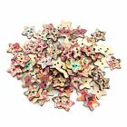 100-1000Pcs Colors Painting Back Star DIY Wooden Sewing Button Scrapbooking 22mm