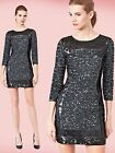 $298 French Connection Sequin Striped Black Multi 3/4 Sleeve Tunic Dress