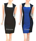 Black Blue Cocktail Bodycon Pencil Dress Lace & Pleat Panels Size 8 10 12 14 16