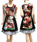 Crinkle Patch Tunic Day Dress Black Red Grey White Printed Size 10 12 14 16 18