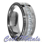 9mm Tungsten Carbide Round Cut CZ Stepped edge Wedding Band Ring Size 7-15